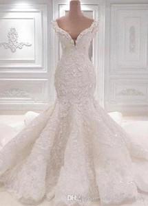 2020 catedral Appliqued cordón de boda del cordón de la sirena vestidos con cuello redondo cristalino lleno largo del tren vestidos de novia de la boda