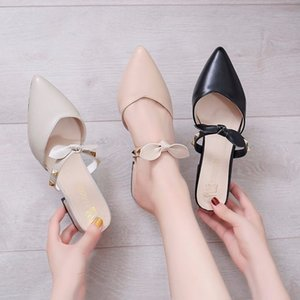 Slipper Women Shoes Woman Slides 2020 Spring Summer New Bow Knot Cover Pointed Toe Rivet Square Low Heels Ladies Shoes Mules