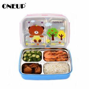 Oneup Bento Lunch Box 304stainless Steel Cute Cartoon Kids Portable Picnic School Healthy Eco-friendly Contenedores de almacenamiento de alimentos Y19070303
