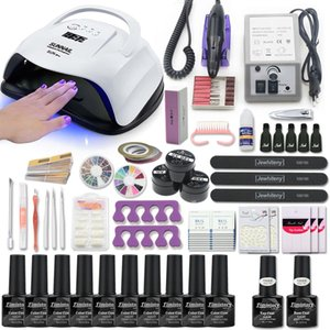 Set ongles avec manucure machine Gel Nail Set pour les outils Kit UV Led lampe Dryer art polonais Kit Extention Gel