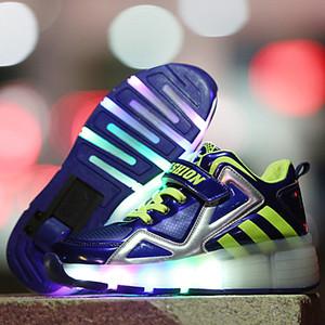Roller niños que brilla zapatillas de deporte de los zapatos de los niños Patín en línea con una ligera llevada niños Ruedas arriba los zapatos de las zapatillas de deporte Niñas Niños