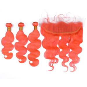 Körperwelle Wellenförmige Jungfrau Brasilianisches Orange Haar Bundles 3 Stücke mit Frontal 4 Stücke Lot Farbige Orange Menschenhaar Spinnt Doppeleinschlagfäden mit