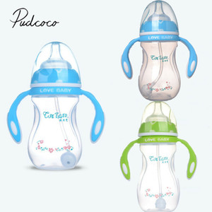 Infant Baby 240ML Cup Children Learn Drinking Straw Milk Feeding Nipple Wide Caliber Curved Baby Bottle With Handle