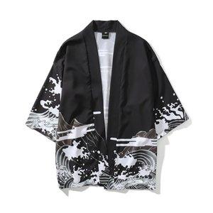 Мужские повседневные рубашки Юката Хаори Мужчины Японский Кимоно Кардиган Самурай Костюм Одежда Куртка Мужская Рубашка
