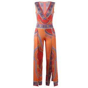 Women Jumpsuits Fashion African Print Bodycon Pants Bodysuit Deep V-Neck Sleeveless Party Rompers Playsuit Overalls Summer Clothing S-XL