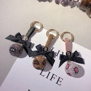 Birthday Gift Creative Key Chains for Women Fashion Full Rhinestone Ball Keychains Personality Fashion Leopard Ball Key Rings