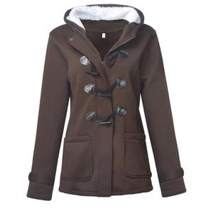 가을 Witner 여성 외투 후드 코트 지퍼 경적 버튼 착실히 보내다 여성 자켓 Casaco Feminino 인과 코트
