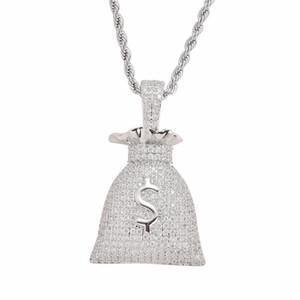 US Dollar Money Bag Pendentif Avec Chaîne De Tennis Or et Argent Couleur Hip hop Collier Cubique Zircon Hommes Bijoux Pour Cadeau