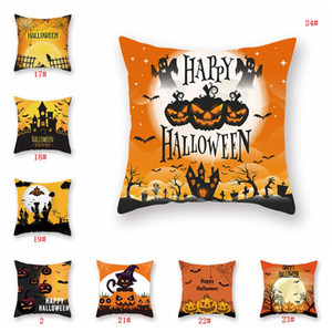 Arancione decorazione di Halloween o un'immagine 18x18inch Black Cat zucca tiro cuscino Cuscino in poliestere partito Copricuscino alimentazione VT0577