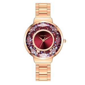 2020 Orologi di moda nuova delle donne della fascia dell'acciaio inossidabile quarzo Casual Quicksand gli orologi di rotolamento Beads Guarda signora orologio con sveglia