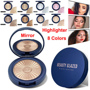 Maquillaje de belleza acristalamiento Highlighter Contour Glow Powder Contorno de la piel en polvo Brighten Cara Bronceador de colorete la gama de colores 8 del color del reflejo
