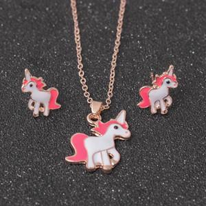 Conjunto de joyas Cadena Niños Mujeres Joyas Caballo de dibujos animados Unicornio Collar Pendientes Conjuntos Mejores regalos Conjuntos de joyas para fiestas