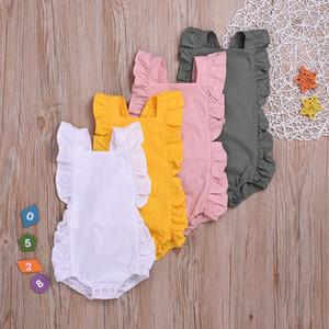 Ropa para bebés niñas Sólidos mamelucos para niñas mamelucos de lino de algodón monos recién nacidos sin mangas monos para niños ropa para bebés boutique DW4196