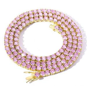 아이스 아웃 핑크 테니스 체인 리얼 지르코니아 돌 골드 실버 도금 단일 행 남성 여성 4mm 핑크 퍼플 다이아몬드 T에 대한 목걸이 보석 선물
