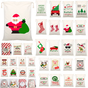 54 Styles Christmas Gift Bags Canvas Tragetasche mit Rentieren Weihnachtsmann-Sack-Beutel für Kinder Dekoration WX9-1550