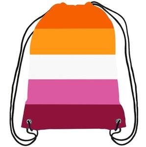 5 camadas Stripes Lesbian Drawstring Backpack 35x45cm Duplo Strong New impresso poliéster com cordão Bolsa lésbicas com Cinco Stripe