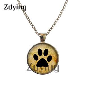 Zdying Moda Animais Gatos Cães Colar Pegada vidro Cabochon Mantenha a calma e Love Cats Colares do DIY jóias dom ZT010