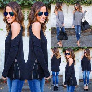 여성 패션 섹시한 긴 소매 셔츠 지퍼 HEMS 콜드 숄더 느슨한 T 셔츠 탑