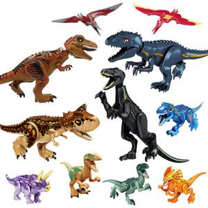 الديناصور الجوراسي تعيين طوب بناء كتلة لعبة الشكل Indoraptor فيلوسيرابتور تريسيراتوبس T-ريكس العالم دينو لعبة أطفال