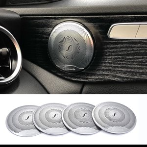 2019 4 pcs Para Mercedes Benz Car Áudio Speaker Altifalante Da Porta Do Carro Guarnição Tampa 2015-2018 Classe C W205 / GLC 2016-2018 E-Class aço Inoxidável
