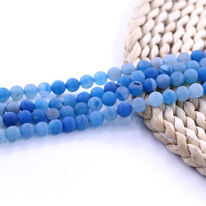 Quamarine Druzy Agate Bead pietra pietra naturale perlina Fornire campione filo 15 pollici per set