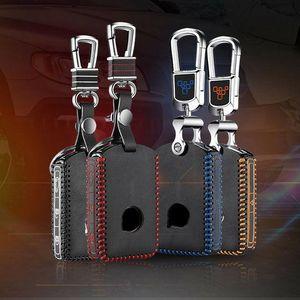 Para Volvo S90 V90 2017 Leather Car Smart Remote Key Fob de la entrada cubierta de la caja de la cadena