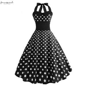 Robes Femme Summer Women White Polka Dot Dress 50S Polka Dot 60S Robe Vintage Pin Up Swing Rockabilly Birthday Celebrateing Party Dresses