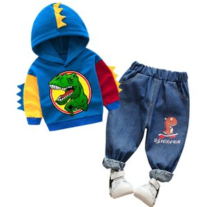 Baby Boys dinosaur Hoodie Trousers Outfit Cartoon Sweatshirt Tops+ Jeans Outfits 2pcs Set Toddler Kids Boy Clothes suit T200707