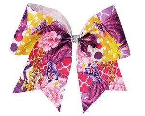 10pcs NEW Girls 8inch Ponytail Hair Bow cheerleading print princess ribbon Cheer Bows With Elastic Hair Band