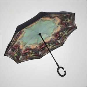 Double Layer Inverted Umbrella Cars Reversible Umbrella C-Hook Waterproof Reverse Folding Inverted Chuva