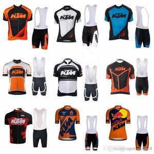2018 صيف جديد ktm الرجال فريق الدراجات الملابس سريعة الجافة قصيرة الأكمام الجبلية دراجة ارتداء تنفس جيرسي مريلة السراويل مجموعات f1205