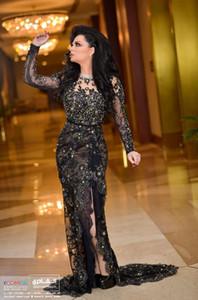 2019 longue en dentelle noire manches robe de soirée sirène de Split robes de bal mère de la mariée Robes