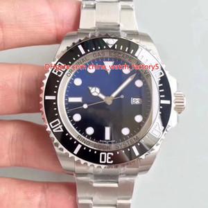 2 Renk Mükemmel V8 Sürümü N 904 Çelik CAL.3135 Hareket 44mm 116660 Deniz-Dweller D-Mavi Seramik Dalış Spor Otomatik Mens Watch Kol