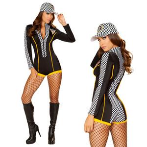 Racing Race Car Driver Costume، الزي المتسابق مثير فتاة ، بذلة ، قبعة MS4411