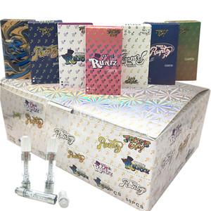 Holografik Kağıt Kutular Shortie'ler Seramik Vape Kartuşları 0.8ml 1ML M6T PCTG Vape Kalem 510 Kartuşları Buharlaştırıcı boşaltın Packaging Runtz Vape Arabaları