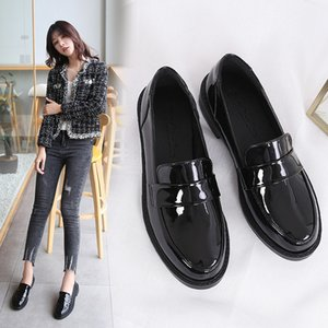 British patent leather oxford shoes woman new spring derby flats shallow mouth chunky brogues women flat shoes chaussure femme
