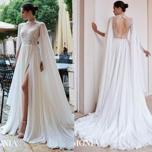2020 Новая линия свадебные платья высокой шеи с длинным рукавом тюль кружева аппликация блестки свадебные свадебные платья разведка поезд халат де Марие