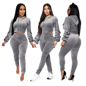 2020 ins designer womens fall and winter sexy two-piece sweater fashion new European and American pants and hoodies Yoga running