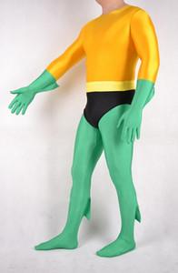 Élasthanne partie robe fantaisie Zentai costume Aquaman Headless catsuit / Retour Zipper