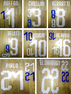 18 19 Italien Druck Fußball Namenssätze BUFFON PIRLO BELOTTI 2018 Italien Spieler Stempel Aufkleber gedruckt Nummerierung beeindruckt Fußball Buchstaben