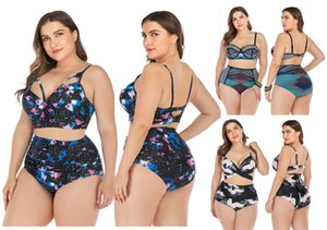 Mode féminine Two Oversize Piece filles Ensemble bikini taille haute maillot de bain Bracelet Femmes Sexy Halter imprimé Beachwear Bikinis