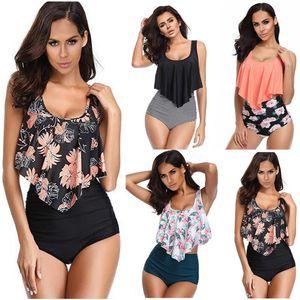 Mesdames Floral Maillots de bain 9 couleurs rayé à volants taille haute Maillots de bain Bikini Boutique Femmes du Brésil Plage Biquini S-3XL060331