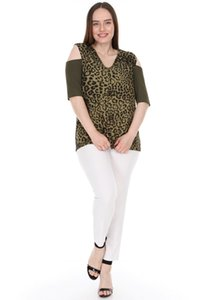 Leopard Pattern pianoluce Lyre Grande Tamanho da Mulher Aberto ombro Blusa caqui 2293
