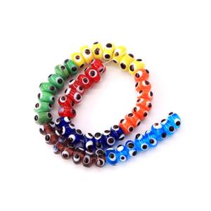 100 piezas de joyería de moda al por mayor 10mm cuentas de vidrio plano con pequeños círculos negros haciendo collares, pulseras y otras baratijas