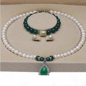luxury jewelry designer jewelry sets for women Pearl 9-10mm bright white freshwater pearl necklace bracelets earrings hot fashion