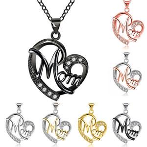diamanti catena clavicola a forma di cuore pendente madre di lusso caldo mamma lettera catena al collo regalo di giorno a forma di cuore ciondolo della madre a due colori