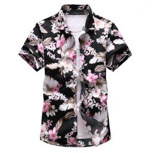 Mens Designer Neck Cardigan Polos Lapel Slim style vacances d'été à manches courtes hommes T-shirts 7XL Oversize Floral