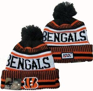 Nuovo strisce Cincinnati Berretti Beanie One Time rimovibile Pom Knit Linea laterale casa ufficiale di sport del cappello di lana lavorato a maglia Bonnet Hip Hop Cappelli Skull