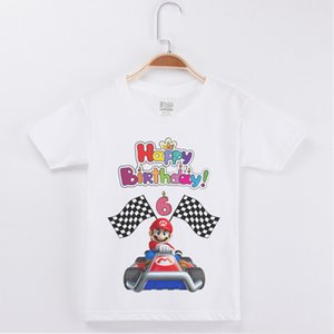 New Arrival Kids Clothes T-shirt Boy Birthday Mario printing 1-13Y Cotton Short Children Clothing Girls Tops Costume Boys Tshirt Y200704
