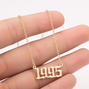 Ручной персонализированный Год Количество ожерелья на заказ Год рождения Initial ожерелье Подвески для женщин девушки ювелирных изделий Специальный год 1980-2019